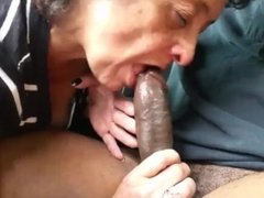 Skilled Granny Eating cock
