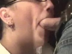 Nerd in glasses sucks cock and gets facial