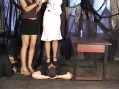 nylon feet trampling in shoes