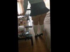 Oceane Stocking freench maid in micro skirt