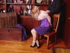 Bound and gagged in purple blouse