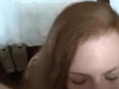 amateur redhead suck, rims and fucks with her boyfriend