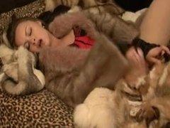 Alyssa masturbate in fur coat