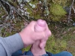 Cumshot in the forest, third cum of the day