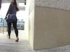 Hot sexy big ass asian teen walking in tight see through leggings & thong !