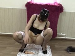 Young slender girl with little tits masturbates and urinates