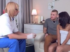 Cute brunette girl deflowered by boyfriend after doctor checked her hymen
