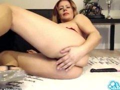 Nicky Ferrari big tits milf pussy and anal dildo masturbation.