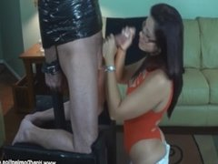 Spanish girl uses the jaws of life on a huge cock during FemDom blowjob