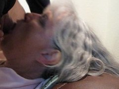 Tounge blowjob and open mouth cumshot by my cum eating granny friend