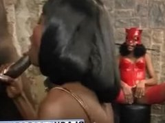 Black slave gets abused by two sluts in dungeon