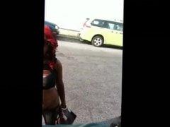 Pretty Black Hoe On The Stroll Flashing in Public in NYC
