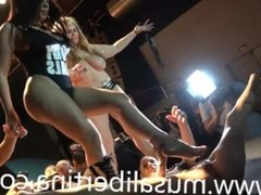 Lesbian fisting orgy on stage (performance)