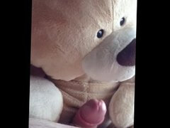 Chubby 18 year old wanks his small cock and fucks a teddy bear
