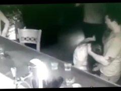 Blowjob handjob in public bar