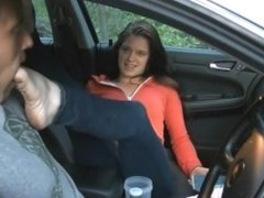 Lucky guy lick and suck nice dirty feet in car