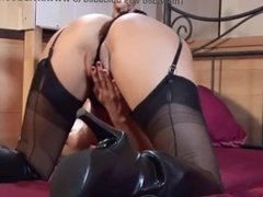 Masturbation in Leather Boots and Stockings
