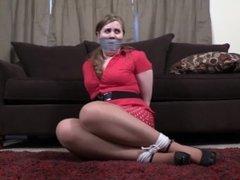 Christy tied in skirt