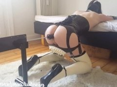 CuteCross: Sissy maid in latex and extreme heels fucked hard in the ass