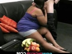 Huge black bitch gives titjob and pussy fucked