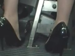 Horny blond groped to multiple orgasm on bus & fucked