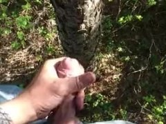 Cumshot in the forest, heavy breathing