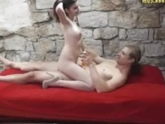 Schoolgirl posing naked with a stranger - more at PornWebCamZ.com