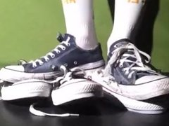Trashed blue Chucks crush two pairs of brand new Converse