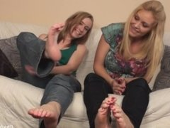 Lesbian foot comparison and worship