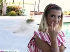 Blonde teen Kenzie Reeves bangs hard on a couch