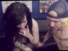 Emo Chick with Dreadlocks & Tattoos gets Fucked Doggystyle while smoking