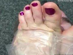 sniffing slave stuck to anastasias smelly feet - 2