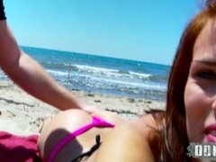 Perfect teen girl picked up at the beach and fucked in the woods