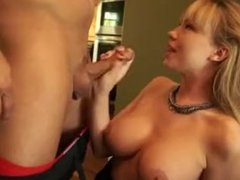 Blondie with bouncy tits gets hard doggy style bang