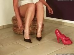 feet glued in heels - some sticky fun - real glue