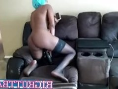 Ripping Pussy Squirting Ebony Teen Girl Ride BBC Toy