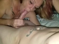 Sexy amateur wife giving a blow and swallows my cum