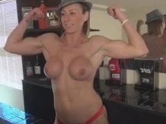 sexy strong girl armwrestling