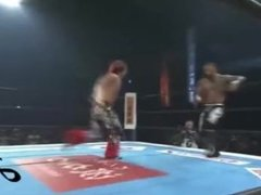 Wrestler Hiromu Takahashi stuns Ricochet with a come-from-behind KO