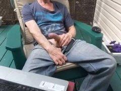 Edging jerk off outside on my terrace #1
