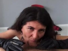 Smoking blowjob and sex in leather gloves