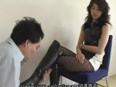 Hot asian chick boots trampling & crushing food
