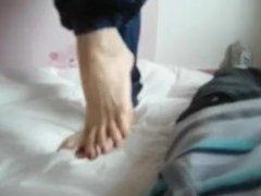 Pretty french girl's cock crushing - feet-fetishtube.com