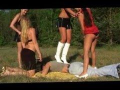 Four girls picnic trampling & humilation 1