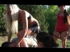 Four girls picnic trampling & humilation 2