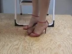 Pink sandals cock trample