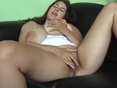 Fingering my pussy and licking my nipples