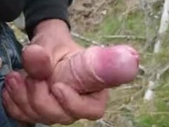 Cumshot in the forest, sideview, third cum of the day