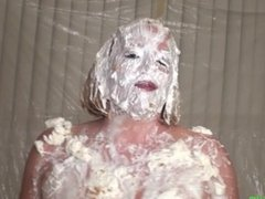 Hilarious Busty Babe Maggie Green Gets Cream Pie In the Face.. Really!
