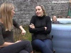 3 girls in jeans having wetlook fun in an inflatable pool 2